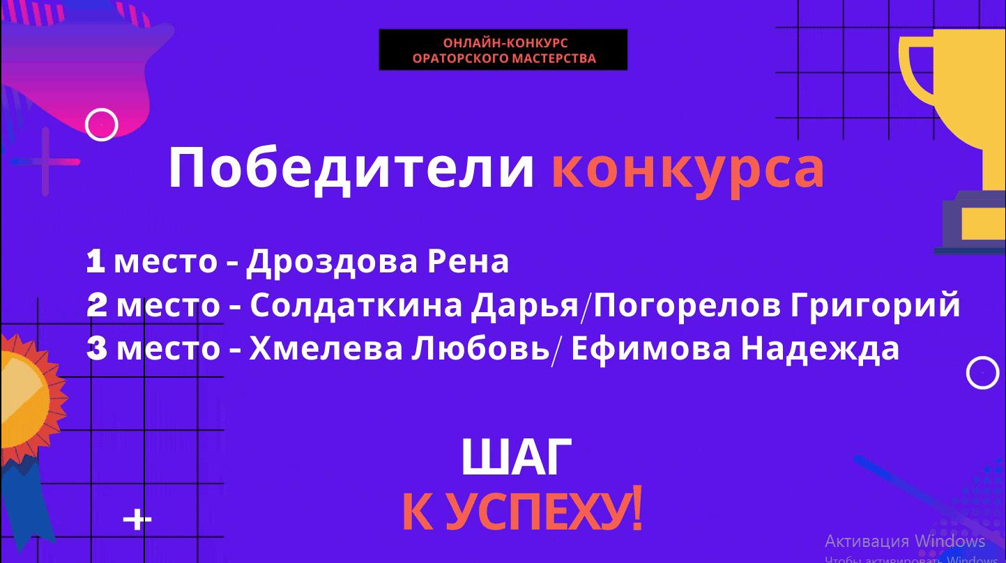 Победители конкурса «Шаг к успеху»!